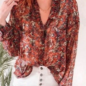Free People Easy Rider Sheer Floral Blouse Roses